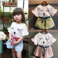 D70769H Korean flounced printing cute dog short sleeved pants suit for girl