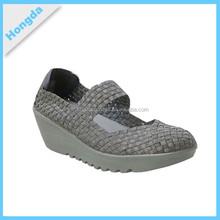 2015 high quality fashion handmade elastic woven shoes