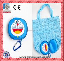 Cheap small duck shopping bag Doraemon folding bag black bear shape foldable tote bag