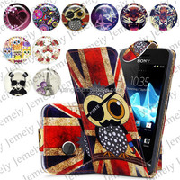 For Sony Xperia Tipo St21i Folio Print Flip Leather Case Phone Bag Back Cover Bags