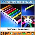 venda quente cilindro power bank 2600 mah para smartphone blackberry