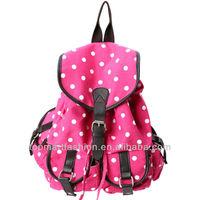Polka dots Canvas Rucksack and Backpack Bag