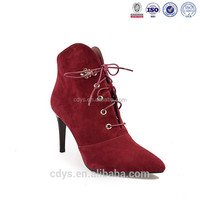 wholesale leather hot sell popular pump short wine suede leather ankle boots