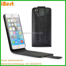 iBest luxury leather phone cover case make with snake skin for iphone 6 6 plus, flip case for iphone 6