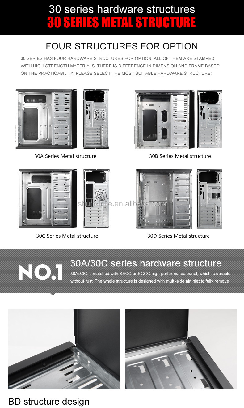 30 Series Custom Vertical Type Awesome Audio USB Front Ports and Desktop Application Big Tower Computer Case