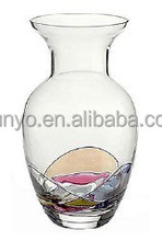Hand Blown clear antique carved glass vase
