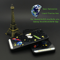 Custom Space Exploration Newest PC Bling 3D Moving Liquid Planet Case For Iphone 6/6s & Samsung Case