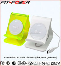New Products Universal Acrylic colorful Mobile Qi Standard Wireless Charger with CE FCC Certification