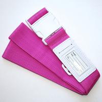 Promotion fashion luggage belt with PVC name tag