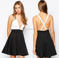 New Fashion Women European Style Skirt Deep V Neck Black and white Splice Sleeveless Mini Dress