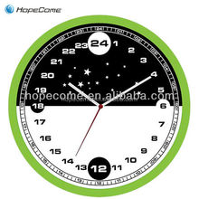 (HC2514-D) Patent design 14 inch plastic 24 hour wall clock with half black half white face