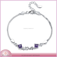 Wholesale fashion 925 silver bracelet with Amethyst jewelry new collection 2015