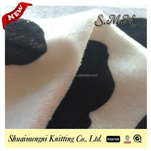 100% polyester velboa cow printed plush fabric for toys