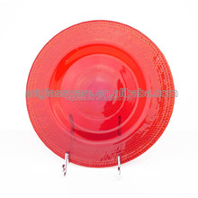 HOLIDAY COLORED SPARY GLASS SESSERT PLATE