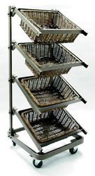 4 tiered mobile retail grocery metal portable supermarket vegetable and fruit display shelves with wickers