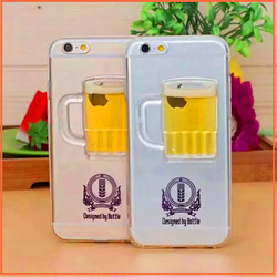 new products Beer Cup glitter liquid sand silicone transparent phone case cover for iphone 6