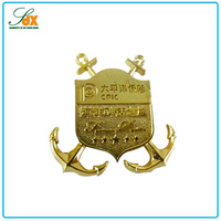 2015 new fashion top quality metal golden souvenir anchor badges