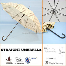 2015 dot straight umbrella light weight hook leather handle straight umbrella wolesale