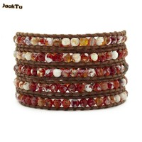 Red Fire Agate Beads Tourmanium Bracelet