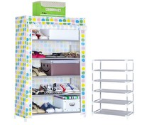 Simple combination of 5-layer Plastic Shelf Holder Wheel Shoe Rack