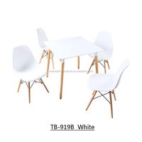 white lacquer wooden dining design and four chairs
