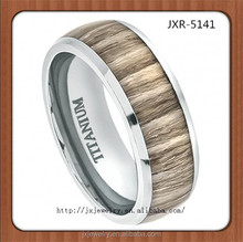 hot new products for 2015 fashionable jewelry wood inlay titanium ring