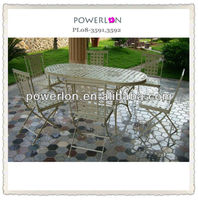 POWERLON vintage foldable antique wrought iron dining tables and chairs