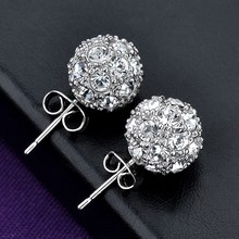 Fashion Modeling 2015 new arrivals women gold plated crystal stud earring double ball