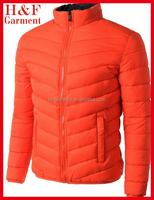 Winter puffy jacket men in orange with light padding custom logo