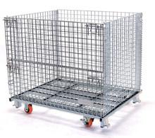Folding Steel Wire Mesh Pallet Bin for Warehouse Storage