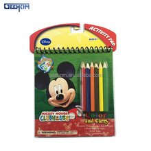 kids color filled drawing book with pencils