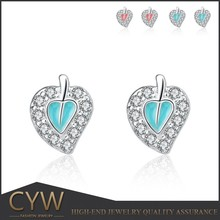 CYW new model 925 sterling silver blue maple leaves stud earrings fashion jewellery made in china