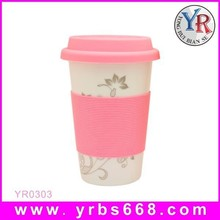 Fashionable Style Porcelain Color Changing Mugs With Lid And Sleeve