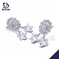 Shiny flower and star design cz silver no hole earring