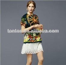 100% verde de poliéster de impresión hermoso blusas de lycra para los veranos