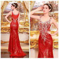 YED11330 Cheap Long Evening Dresses Sexy Red 2014 Turkish Evening Dresses