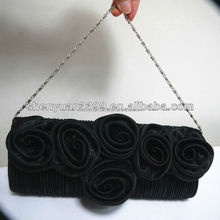 2015 Black Women's Fashion Purse Handbag Rose Flower Clutch Evening Bag