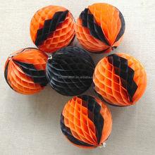 Orange and Black tissue paper Honeycomb lantern Halloween decoration Honeycomb ball