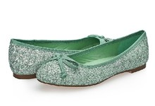 Latest 2014 girls fancy ballet flat shoes women green glitter working shoes ladies 2014 fashion cheap factory brand new shoes