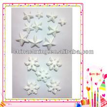 Different kinds christmas styrofoam artwork decorations styrofoam stars and snow flakes