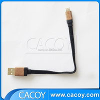 MFi Certificated wooden case housing 8pin to usb flat braided cable for iPhone5/5s/6/iPad