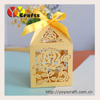 laser cutting paper wedding candy box laser cut decoration chocolate wedding box with ribbon