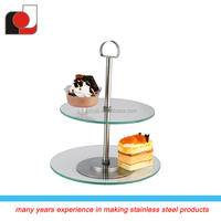 2015 new design two layers glass cake stand for wedding party stand for cake