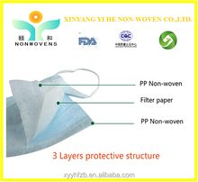 Hot sale!!! PP nonwoven fabric unisex 3-ply nonwoven face mask for Hospital, medical/food/electronic/chemical/beauty industry
