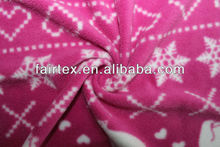 Red Base With Printed Snowflake And Heart Micro Fleece 75D\144F 150|165