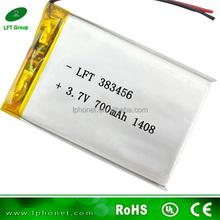 383456 3.7v 700mah rechargeable li-ion battery for mi traveler
