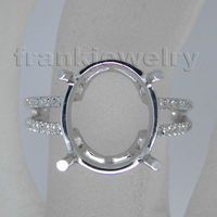 100% Natural Diamond Gold Ring Oval 10x12mm 14Kt White Gold Engagement Sample Beauty Semi Mount Ring Wholesale SR118