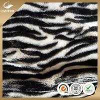Wholesale polyester printed fake tiger fur plush fabric
