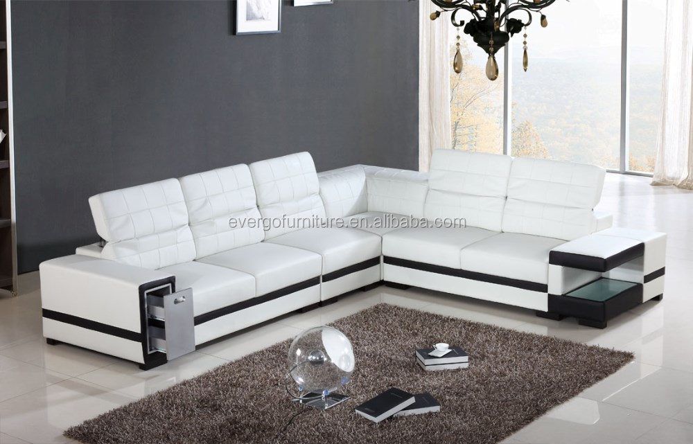 Living Room Furniture Sofa And Modern Sectional Leather Sofas With Led Light