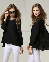 Elegante blusa casual com voltar plissada para alto verão lady top com strass decote